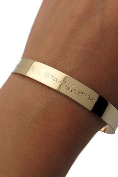 Gold Latitude Longitude Cuff Bracelet - Personalized Gold Cuff