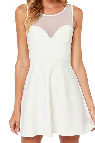 Sexy sleeveless white bow dress #AD82602Y