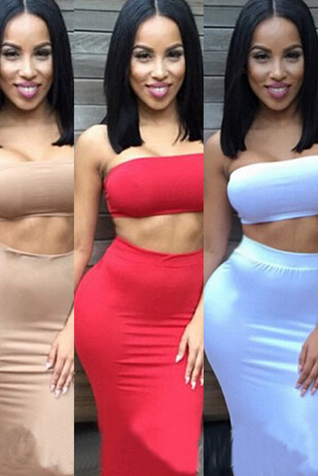 HOT STRAPLESS TWO PIECE DRESS