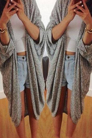 Fashion Batwing Sleeve Knee Length Cardigan (3 colors)