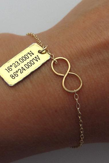 Infinity Bracelet - Latitude Longitud Charm Bracelet - Gold Filled Bracelet with Custom Tag