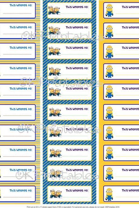 Minions Back to school Labels - Despicable Me - Labels - School supplies - Tags - Boys labels for school- Fun labels - PDF