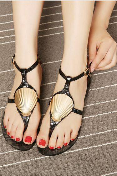 Elegant Black and Gold Sandals