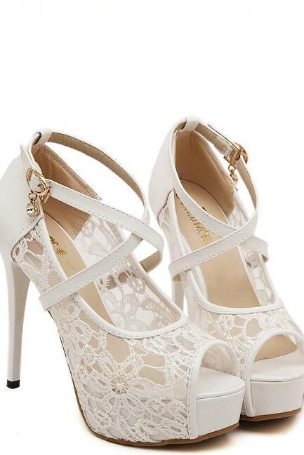 Sexy Cross Strap Lace Design High Heels Fashion Shoes