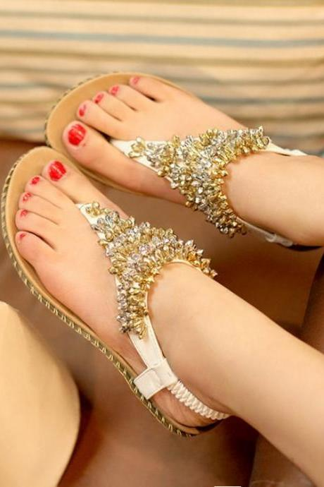 Beautiful Beaded Boho Fashion Sandals