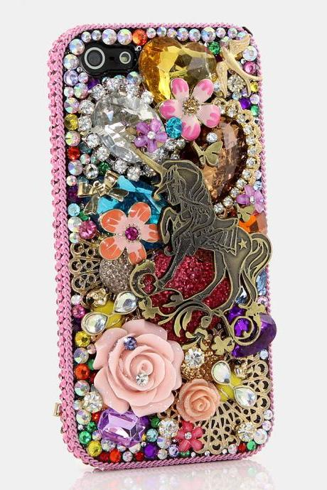 Bling Crystals Phone Case for iPhone 6 / 6s, iPhone 6 / 6s PLUS, iPhone 4, 5, 5S, 5C, Samsung Note 2, Note 3, Note 4, Galaxy S3, S4, S5, S6, S6 Edge, HTC ONE M9 (UNIQUELY UNICORN DESIGN) By LuxAddiction