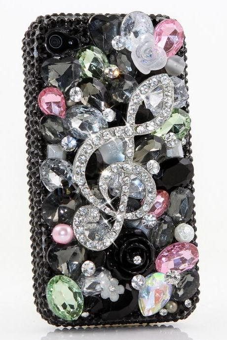 Bling Crystals Phone Case for iPhone 6 / 6s, iPhone 6 / 6s PLUS, iPhone 4, 5, 5S, 5C, Samsung Note 2, Note 3, Note 4, Galaxy S3, S4, S5, S6, S6 Edge, HTC ONE M9 (FANCY MUSIC NOTE DESIGN) By LuxAddiction