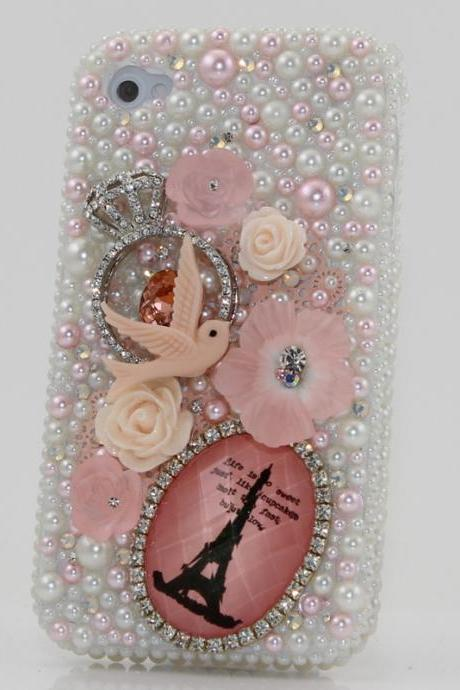 Bling Crystals Phone Case for iPhone 6 / 6s, iPhone 6 / 6s PLUS, iPhone 4, 5, 5S, 5C, Samsung Note 2, Note 3, Note 4, Galaxy S3, S4, S5, S6, S6 Edge, HTC ONE M9 (PEARL DOVE DESIGN) By LuxAddiction