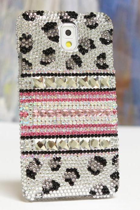 Bling Crystals Phone Case for iPhone 6 / 6s, iPhone 6 / 6s PLUS, iPhone 4, 5, 5S, 5C, Samsung Note 2, Note 3, Note 4, Galaxy S3, S4, S5, S6, S6 Edge, HTC ONE M9 (BLACK AND WHITE LEOPARD DESIGN) By LuxAddiction