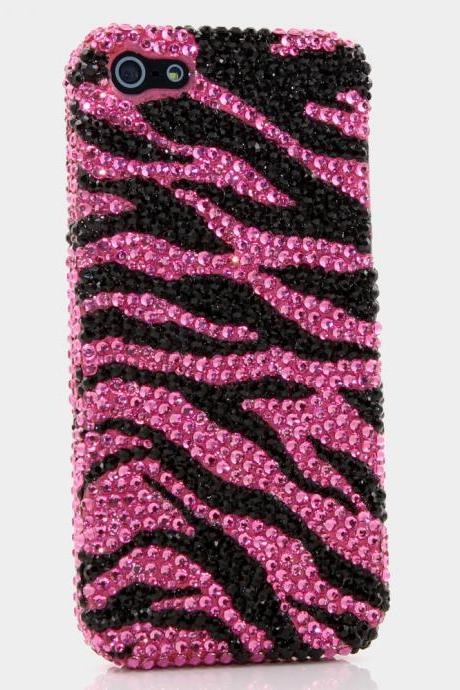 Bling Crystals Phone Case for iPhone 6 / 6s, iPhone 6 / 6s PLUS, iPhone 4, 5, 5S, 5C, Samsung Note 2, Note 3, Note 4, Galaxy S3, S4, S5, S6, S6 Edge, HTC ONE M9 (PINK AND BLACK ZEBRA DESIGN) By LuxAddiction