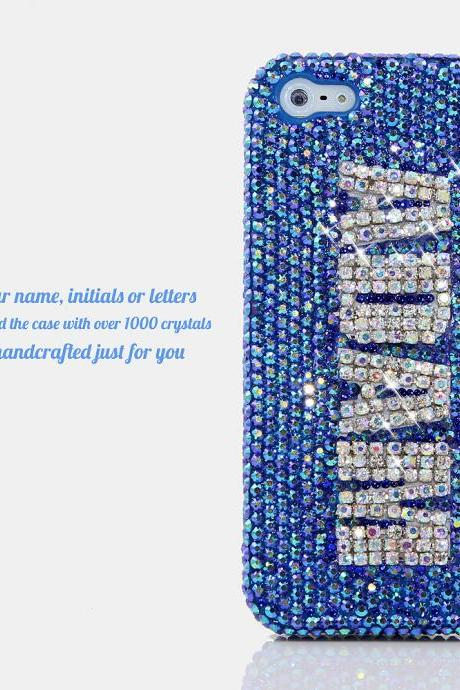 Bling Crystals Phone Case for iPhone 6 / 6s, iPhone 6 / 6s PLUS, iPhone 4, 5, 5S, 5C, Samsung Note 2, Note 3, Note 4, Galaxy S3, S4, S5, S6, S6 Edge, HTC ONE M9 (BLUE WITH CLEAR DIAMONDS PERSONALIZED NAME & INITIALS DESIGN) By LuxAddiction