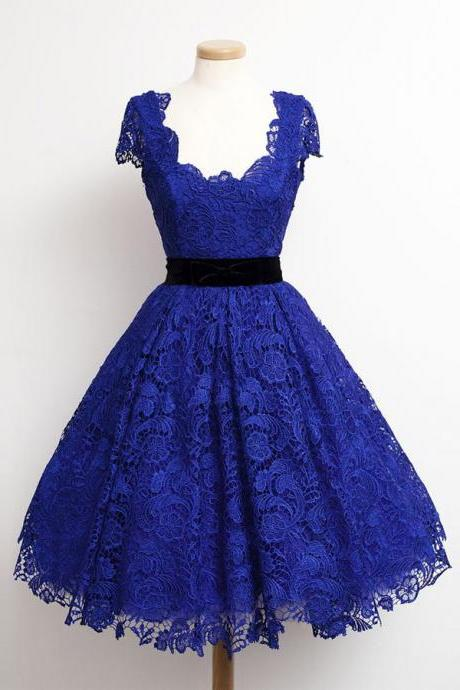 Charming Royal Blue Lace Cap Sleeve Prom Party Dresses 2015 Elegant Knee Length A Line Plus Size Celebrity Dresses Gala
