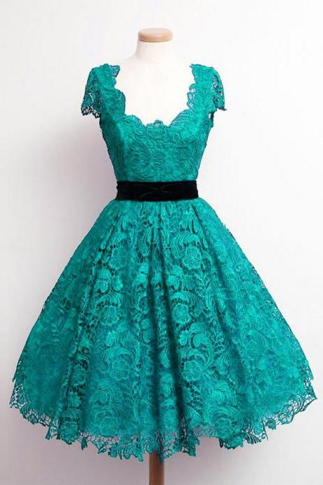 Charming Teal Lace Cap Sleeve Prom Party Dresses 2015 Elegant Knee Length A Line Plus Size Celebrity Dresses Gala