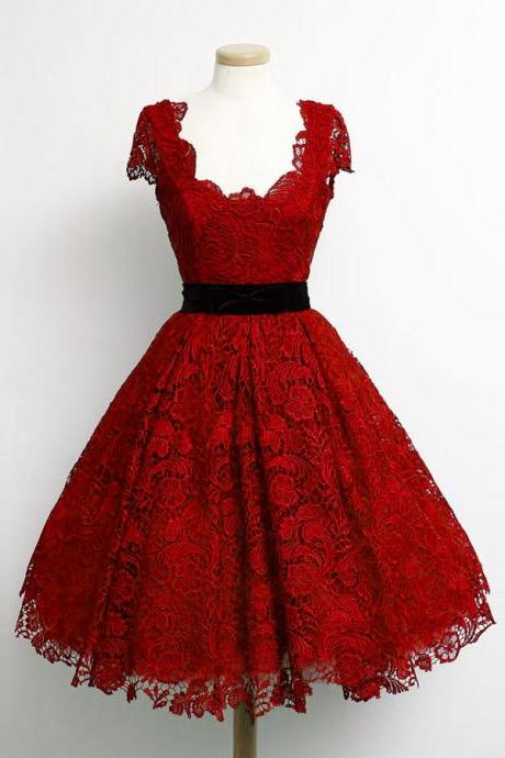 Charming Dark Red Lace Cap Sleeve Prom Party Dresses 2015 Elegant Knee Length A Line Plus Size Celebrity Dresses Gala