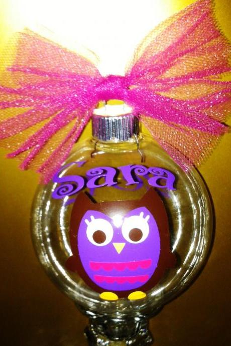 Personalized Owl Christmas ornaments. Any name/initial/phrase you would like
