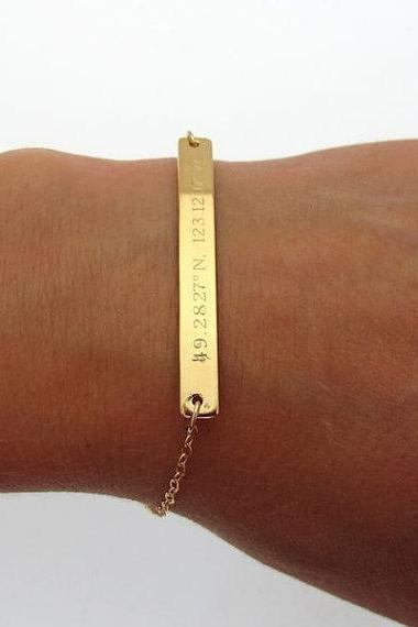 Latitude Longitude Bracelet - Gold Filled Chain Bracelet - Bar Engraved Gold Bracelet - Gift for her