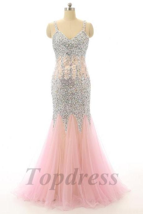 Charming 2016 Crystal Mermaid Evening Dress Pink Prom Dresses Gowns Tulle Long Women Formal Party Dress Vestidos De Festa