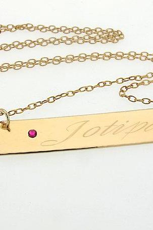 Name Necklace - Personalized Name Plate Gold Necklace with Birthstone - Birthday Gift for Her