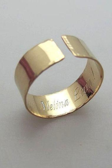 Gold Inside Engraved Band - Hidden Names Ring - Customized Gold Filled Ring for Her / Him - Adjustable Band