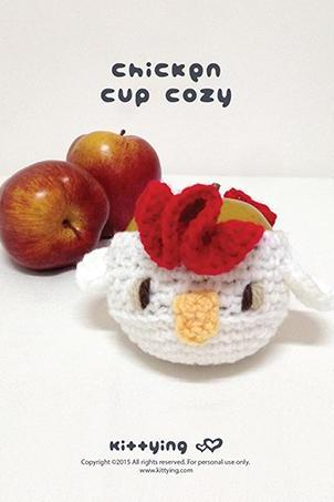 Crochet Pattern Chicken Fruit cozy Rooster Apple protector Cock Mug Sleeve Hen Cup warmer Apple cozy Chicks Cup Crochet cozy Chics Cozy