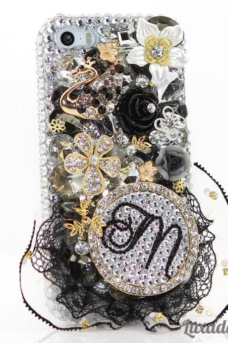 Bling Crystals Phone Case for iPhone 6 / 6s, iPhone 6 / 6s PLUS, iPhone 4, 5, 5S, 5C, Samsung Note 2, Note 3, Note 4, Galaxy S3, S4, S5, S6, S6 Edge, HTC ONE M9 (3D BLACK SWAN PERSONALIZED MONOGRAM DESIGN) By LuxAddiction