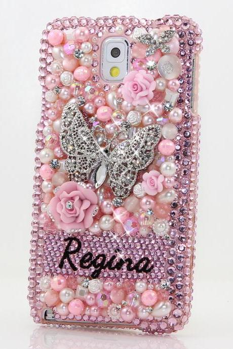 Bling Crystals Phone Case for iPhone 6 / 6s, iPhone 6 / 6s PLUS, iPhone 4, 5, 5S, 5C, Samsung Note 2, Note 3, Note 4, Galaxy S3, S4, S5, S6, S6 Edge, HTC ONE M9 (3D PINK BUTTERFLY PERSONALIZED NAME & INITIALS DESIGN) By LuxAddiction