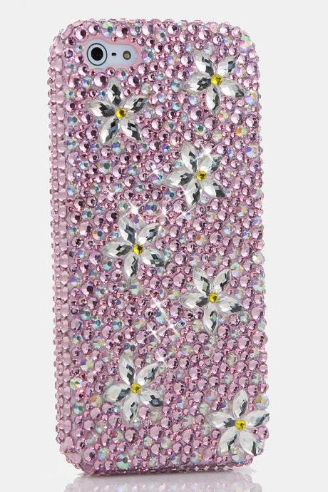 Bling Crystals Phone Case for iPhone 6 / 6s, iPhone 6 / 6s PLUS, iPhone 4, 5, 5S, 5C, Samsung Note 2, Note 3, Note 4, Galaxy S3, S4, S5, S6, S6 Edge, HTC ONE M9 (PINK DAISY DESIGN) By LuxAddiction
