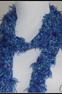 Blue Purple Teal Irredesent Fringe Scarf