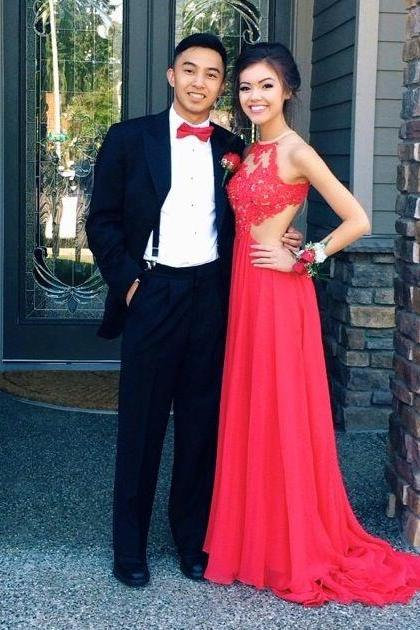 Custom Made A Line Round Neck Red Lace Prom Dresses, Red Lace Formal Dresses, Red Lace Evening Dresses, Homecoming Dress, Homecoming Dress 2015
