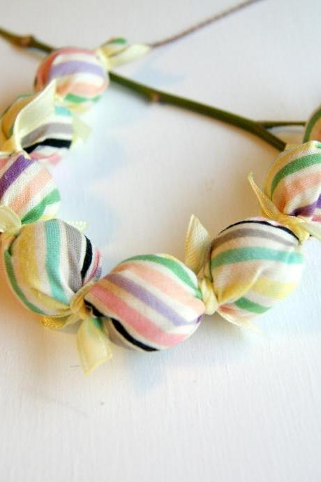 Yellow Ribbon Candy Stripe Fabric Beaded Necklace