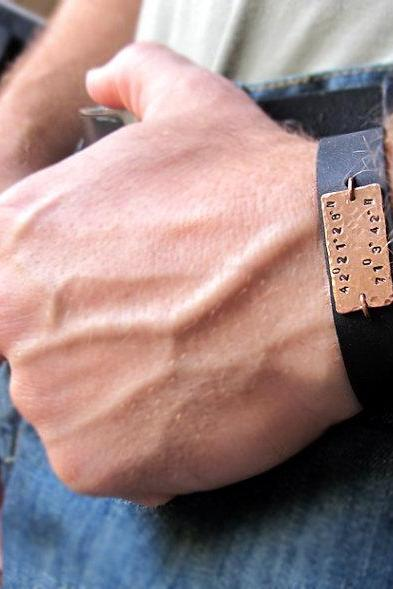 Latitude Longitude Leather Bracelet for Men - Mens Gift - Personalized Mens Bracelet - GPS Coordinates Cuff
