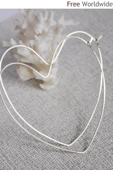 Heart Hoop Earrings - Sterling Silver Heart Hoops - Love Earrings - Romantic Earrings