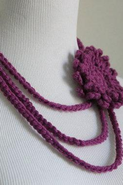 Crochet Necklace Flower Brooch Layered Necklace Magenta