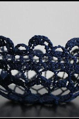Crochet Lace Doily Bowl Basket Navy Blue