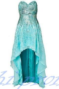 Blue Homecoming Dress,High Low Homecoming Dresses,High low Homecoming Gowns,Strapless Prom Dress,Chiffon Prom Dresses,Sequined Formal Dress,Silver Sequined Evening Dresses For Teens