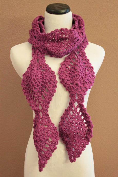 Chunky Scarf Crochet Pineapple Lace Motif Magenta