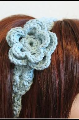 Flower Headband Crochet Aqua