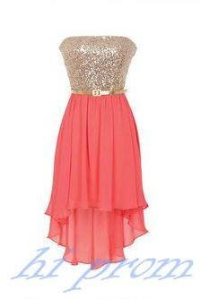 Coral Homecoming Dress,High Low Homecoming Dresses,Chiffon Homecoming Gowns,Strapless Prom Dress,Champagne Prom Dresses,Sequin Sweet 16 Dress,Evening Dresses For Teens