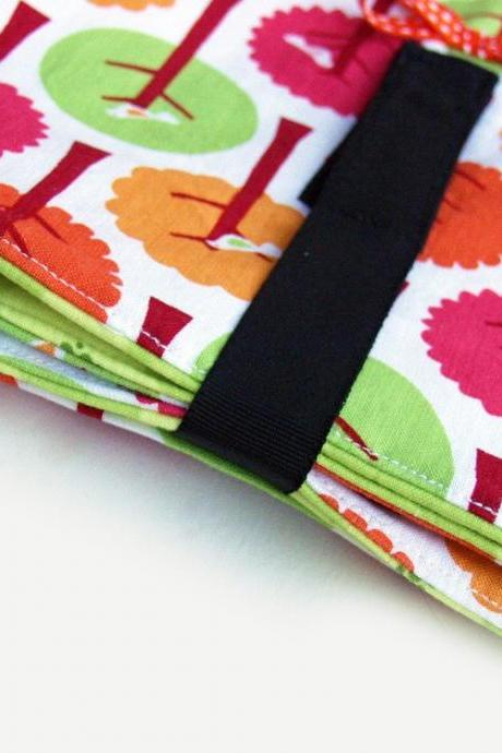 baby changing pad, travel size in blossoms and trees