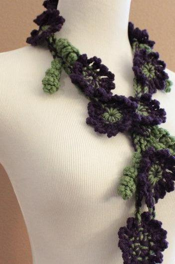 Crochet Flower Scarf Lariat Purple and Green Spring Fashion