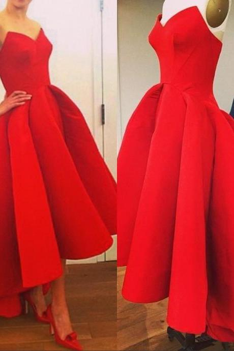 Red V-Neck High-Low Satin Prom Dress, Evening Dress, Homecoming Dress