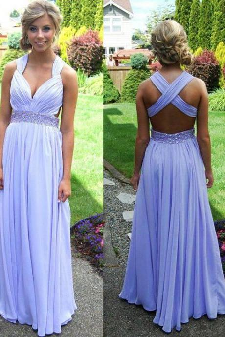 New Fashion A Line Straps Cross-Back Floor Length Lilac Beading Party Dresses,Backless Sweetheart Prom Dress,Formal Dresses,Long Dress For Prom ,Evening Dress,Special Occasion Dresses