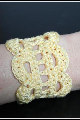 Crochet Cuff Lace Bracelet Yellow