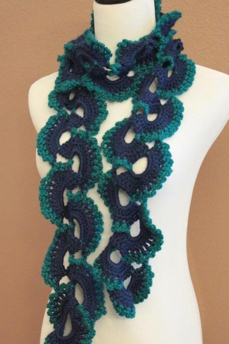 Crochet Scarf Teal and Navy Blue Queen Annes Lace
