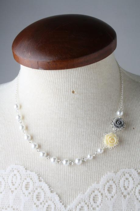 Yellow and grey bridesmaid rose necklace, pearl necklace, grey and yellow wedding, bridesmaid gift, flower girl necklace, made in Canada