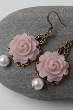 Dusty Rose Bridesmaid Earrings, dusty rose wedding jewelry, vintage style earrings, dusty pink dangle, shabby chic earrings, garden wedding