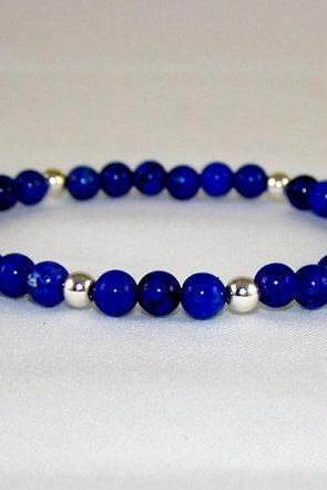 Lapis Gemstone Stretch Bracelet Set with Sterling Silver Accent Beads, Energy Bracelet, Meditation Bracelet, Free Shipping