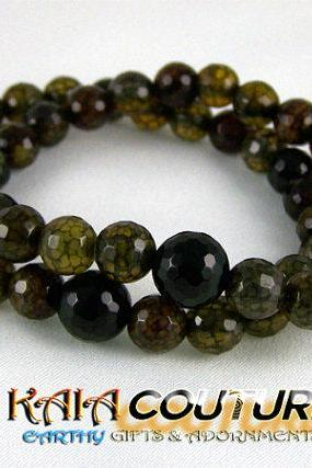 Solid Agate Enegy Bracelet SET with Faceted Black Onyx Yogi Accent bead, Meditation Bracelet, Great Gift Ideas, Free Shipping