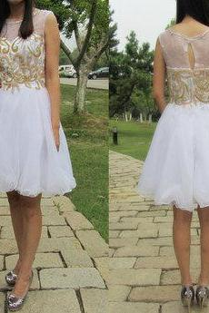 Short beaded prom dress,white organza knee length evening dress,sleeveless wedding party dress
