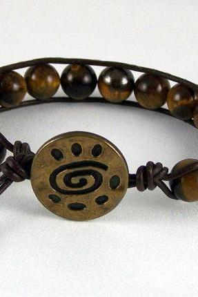 Steady Tiger Eye Leather Wrap Bracelet with Tribal Closure, Meditation Bracelet, Gift Ideas, Free Shipping